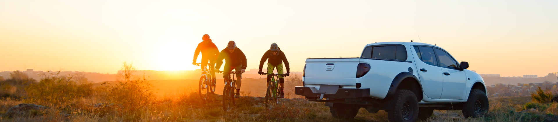 Truck, Sunset, Bikers